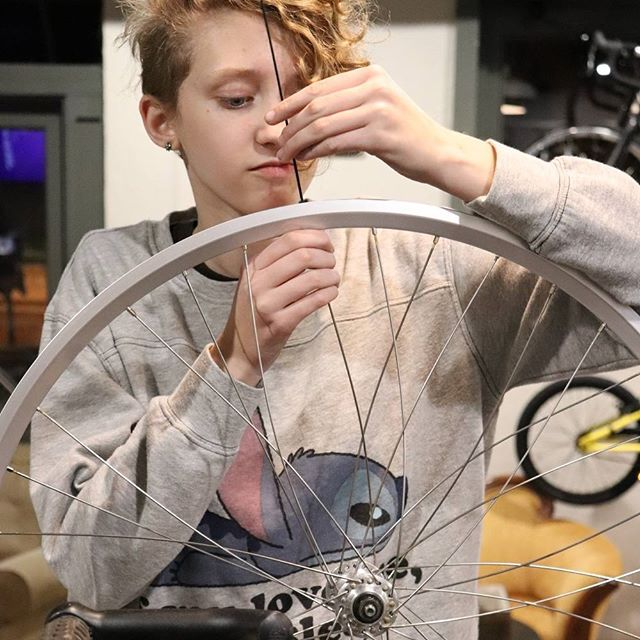The no-so-mini me learning to lace wheels! @minethefirst #goingtobeoutofajob #learnbydoing @campagnolosrl @velocityusa #sapim @cursedbikesandcoffee