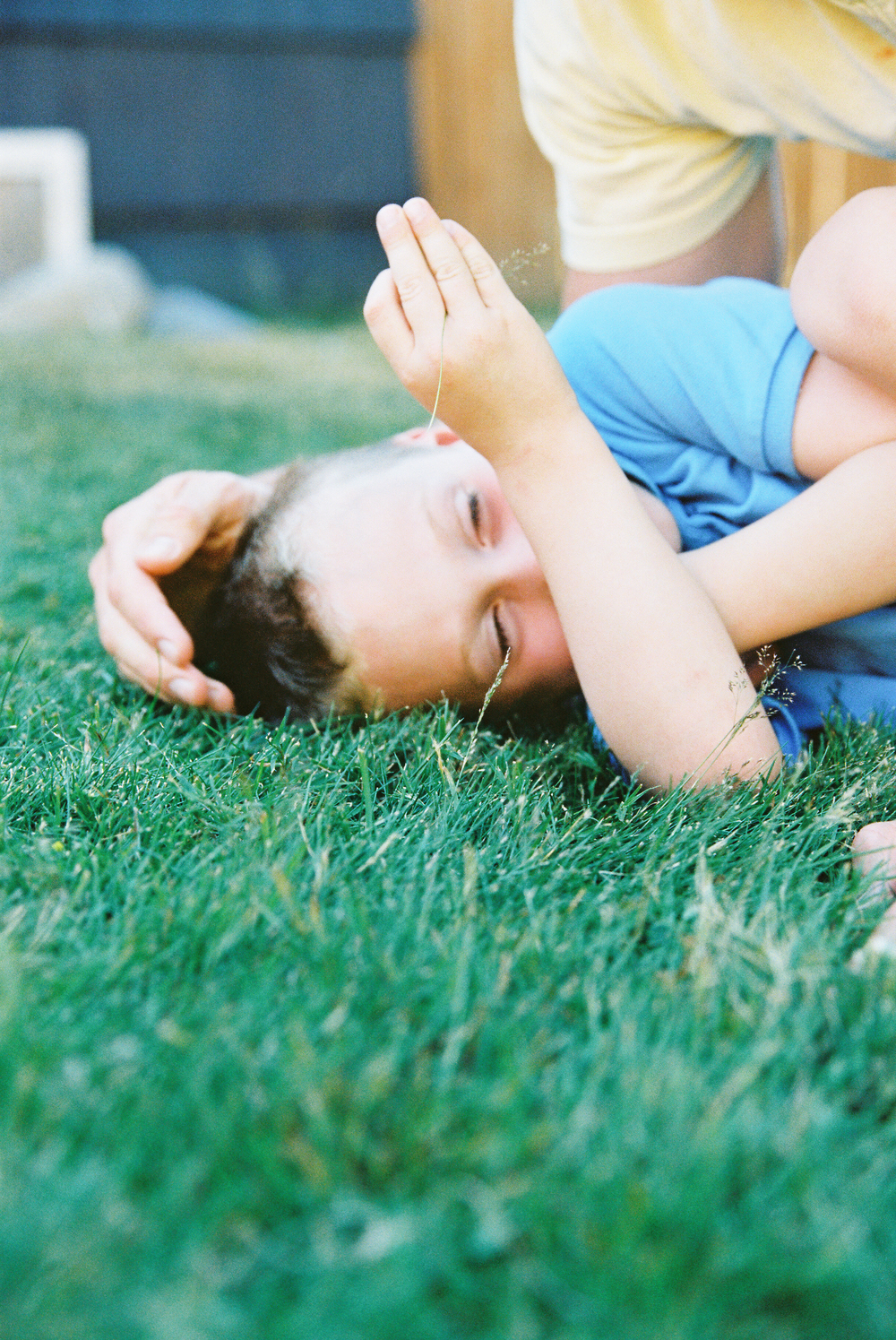 seattle newborn family photographer film photography family home natural light baby kodak portra 400 brother boy dad father grass