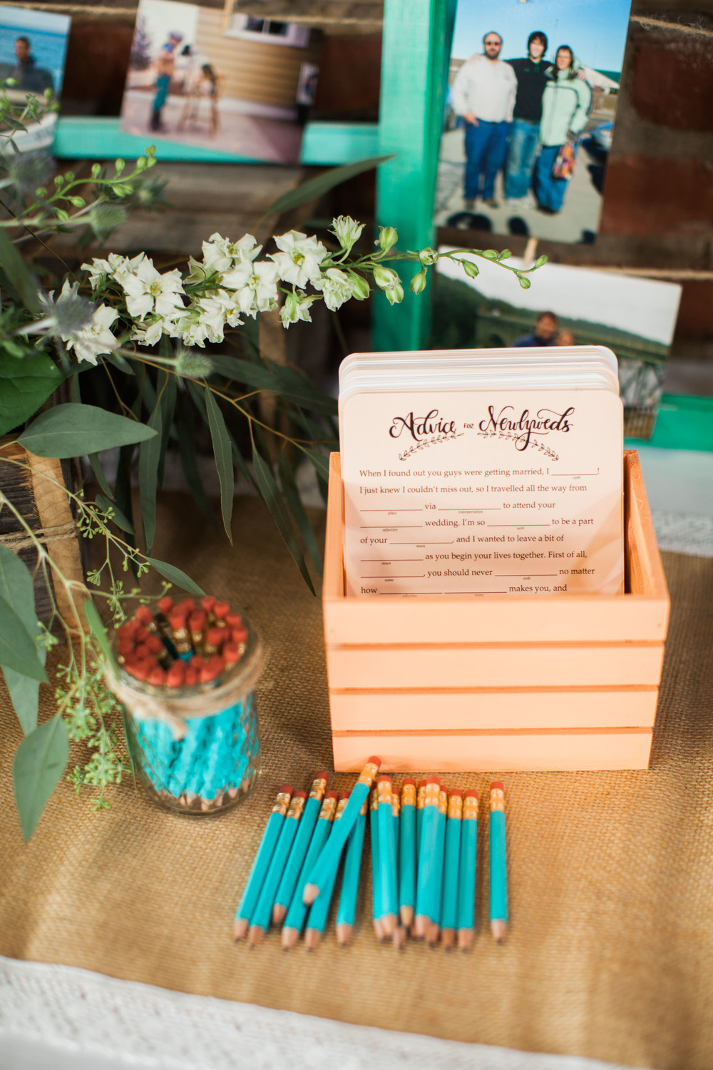 Seattle wedding photographer film photography golden garden gardens state park ocean beach sand grass wind boat house boathouse wedding reception advice for the newlywed game card