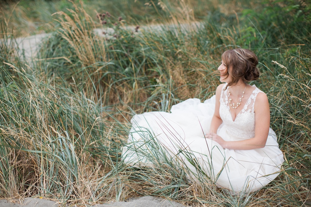 Seattle wedding photographer film photography golden garden gardens state park ocean beach sand grass wind boat house boathouse bride in tall grass