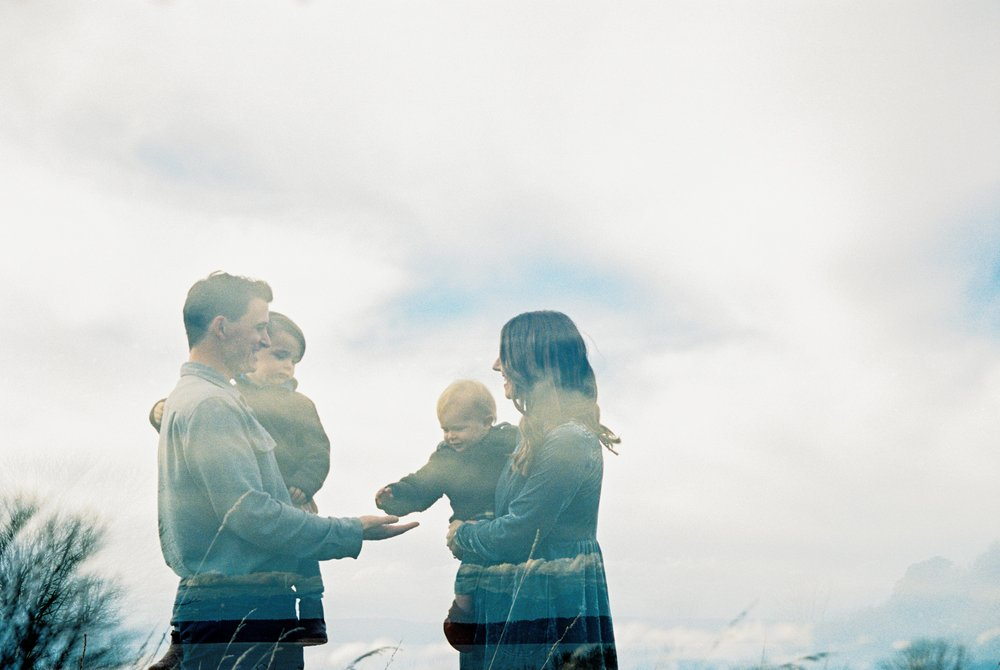 seattle family photographer photo discovery park children child kids kid mom dad brother double exposure film kodak portra 400 35mm pudget sound most popular top best rated photographer rachael kruse photography meg kilcup double exposure