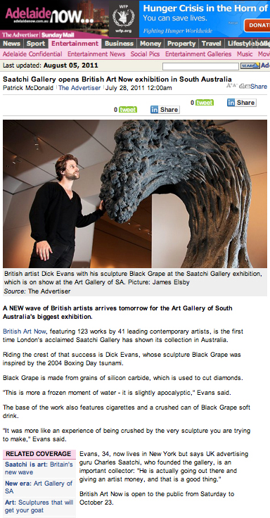 Adelaide Now - Saatchi Gallery opens British Art No2 - 2011