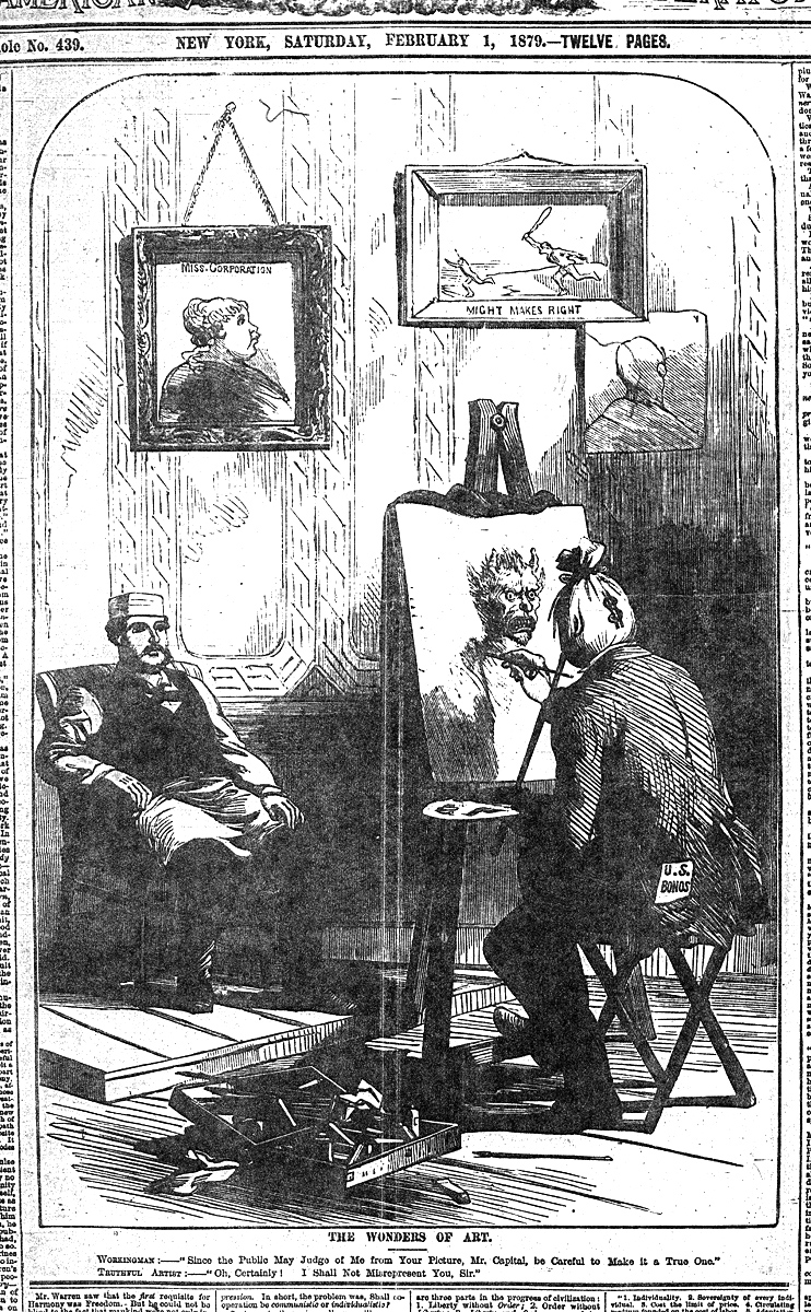 "Irish World and Industrial Liberator, February 1, 1879.  Click image to enlarge.  WORKINGMAN: - ""Since the public may judge of me from your picture, Mr. Capital, be careful to make it a true one.""   TRUTHFUL ARTIST - ""Oh, certainly! I shall not misrepresent you, sir."""