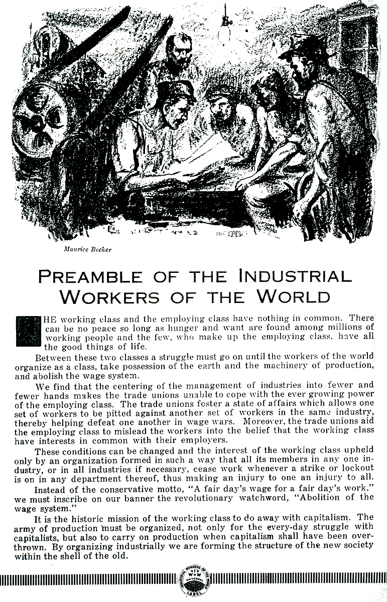 IWW Preamble and cartoon by Maurice Becker, Industrial Pioneer, May 1924.