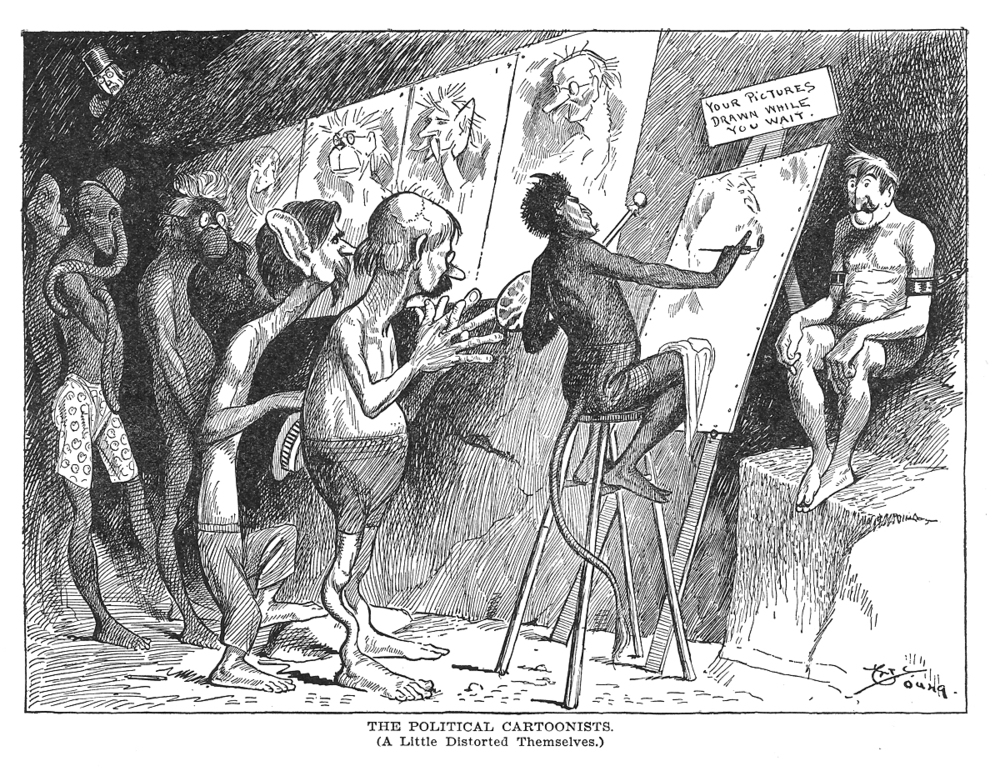 Cartoonists in Hell, 1901.    Click image to enlarge.
