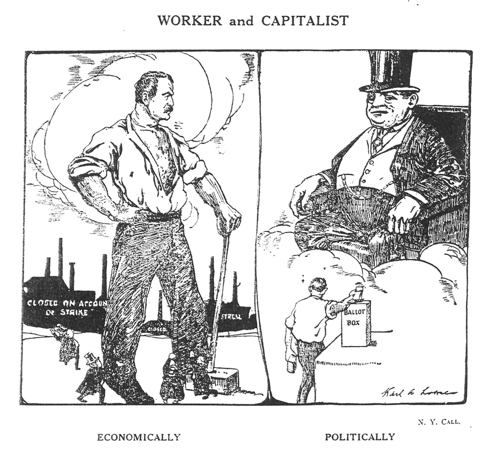 Drawn for the  New York Call , reprinted in the  International Socialist Review , June 1911.