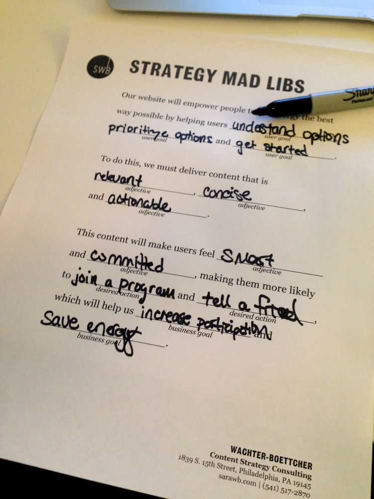 089dac8516 Content Mad Libs — Content Strategy Workshops