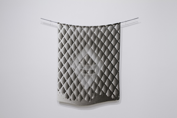 "Slunk Digital Print on Velvet, Fiber-etching, Glass, Custom Aluminum Hardware, 3'11"" x 5'"