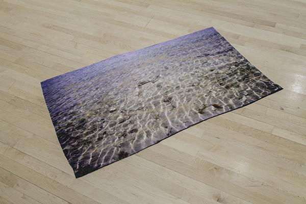 """Slice of the Strait Digital Print on Velvet, Fiber-etching, 30"""" x 47"""""""