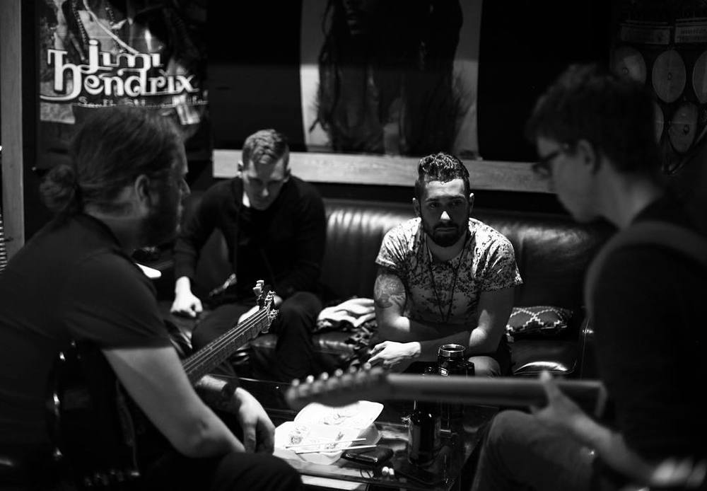 In studio with Belvue planing out some new guitar parts! Photo by Joseph Forsyth.