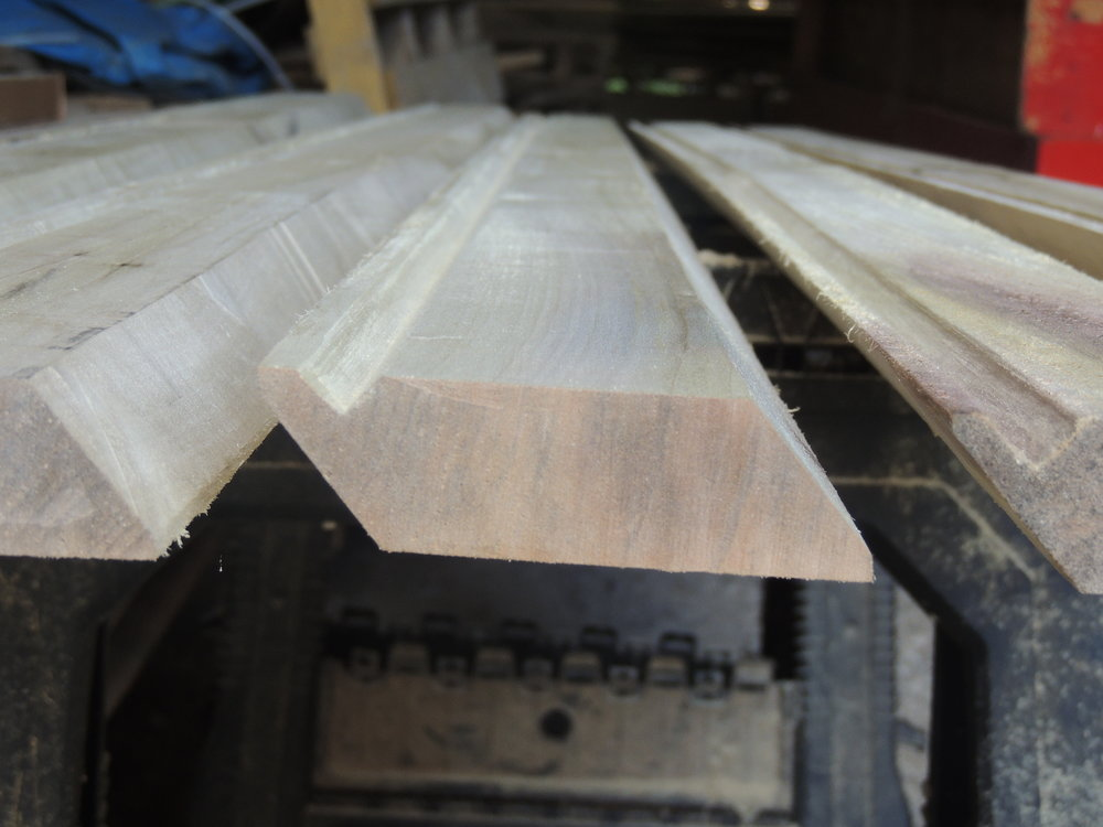 We can make specialty cut profiles out of our lumber for a small fee.  These pieces were cut to match some existing base pieces at the bottom of some lapboard siding.