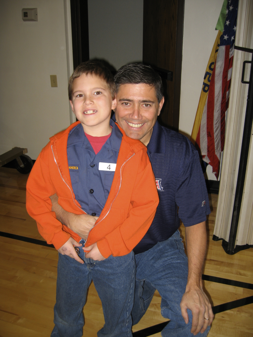 2008. Koleden and Luis at a Scouting Pinewood Derby event.