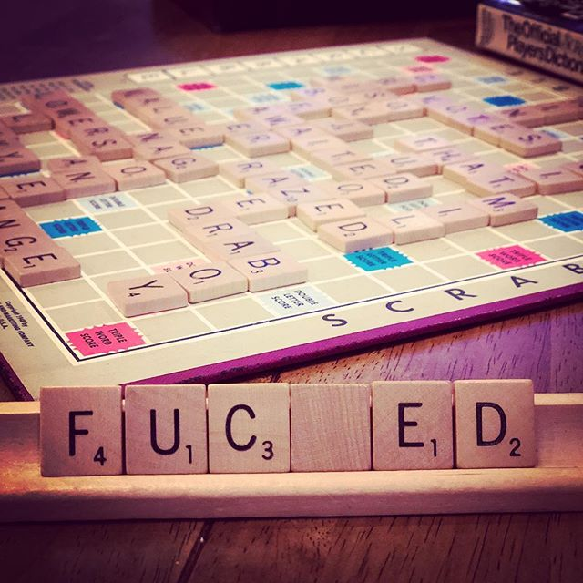 Playing scrabble with my mom and trying to use all my letters in this last turn...