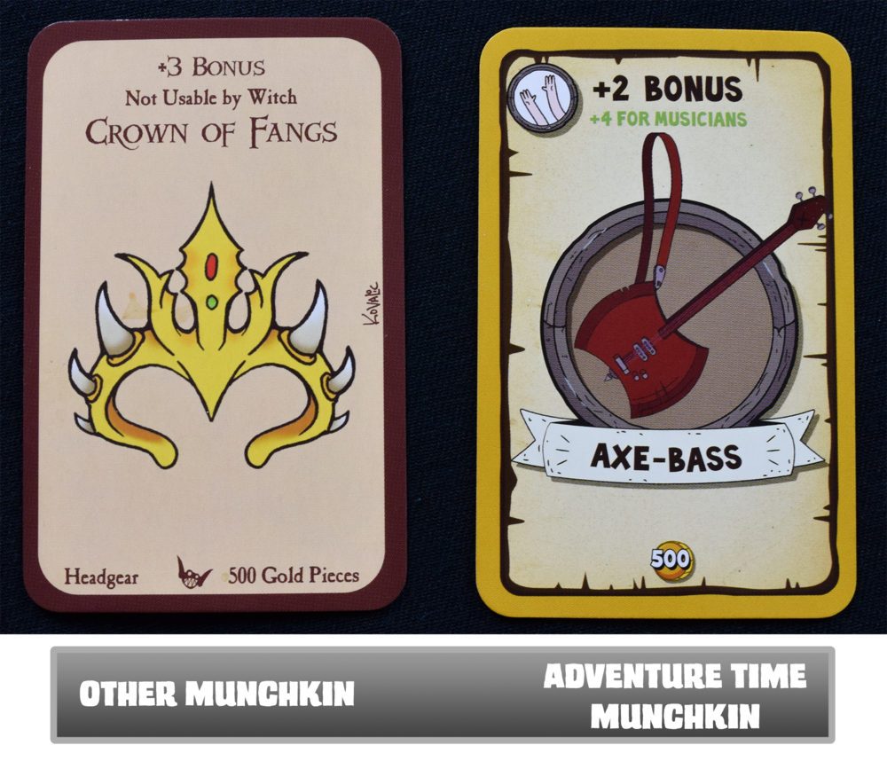 Normal Munchkin cards vs. Adventure Time Munchkin