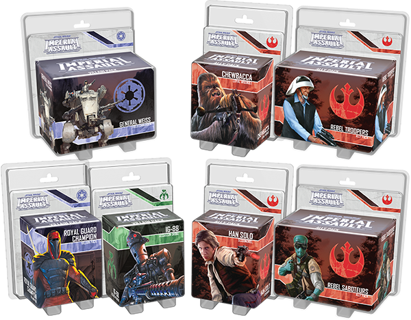 All 7 announced Imperial Assault Ally and Villain packs.