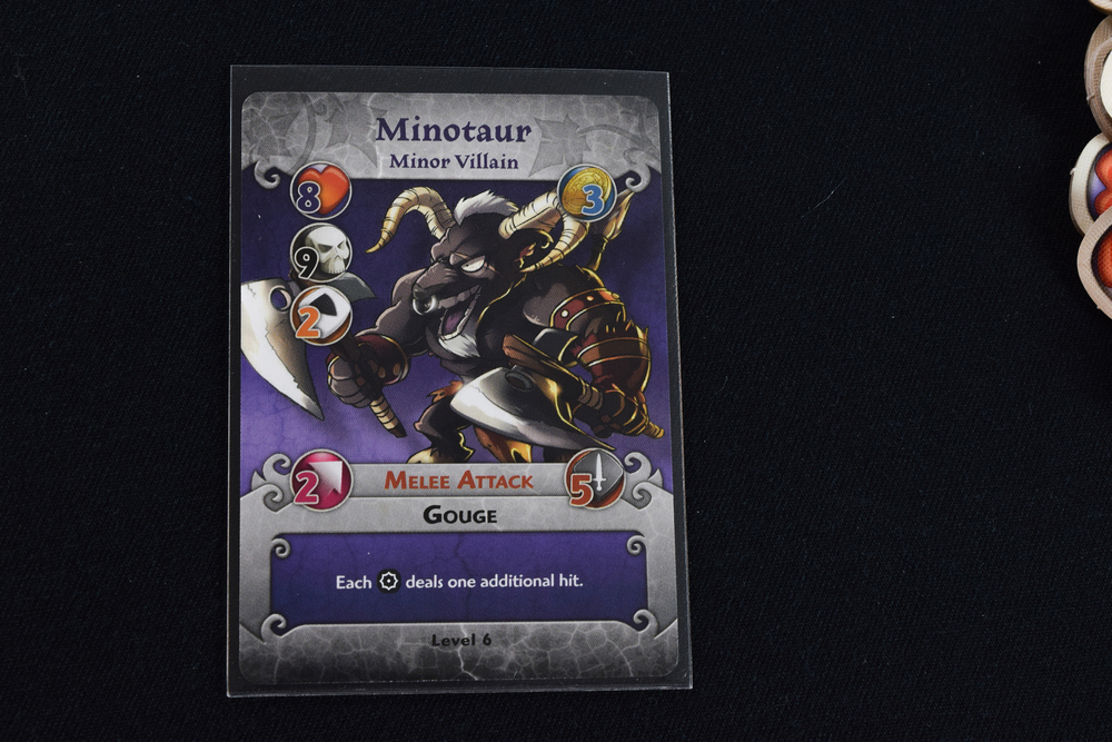 Arcadia Quest monsters come with multiple cards to represent different upgrades.