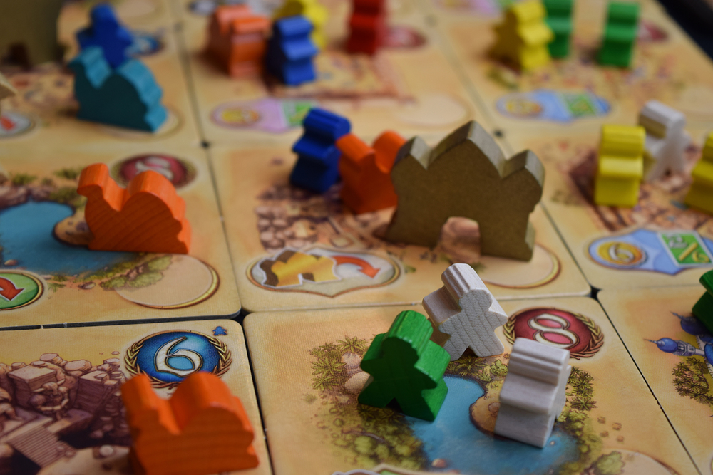 Five Tribes board up close.
