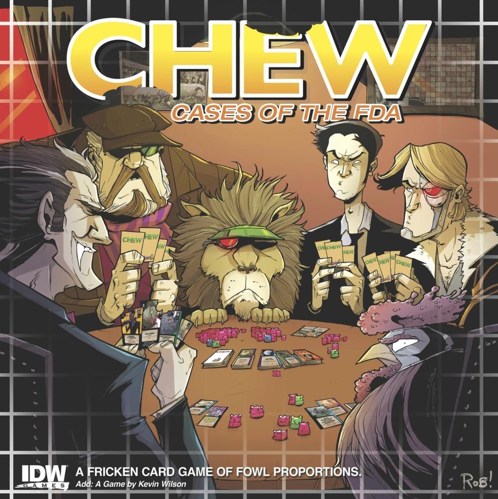 Chew: Cases of the FDA box cover.