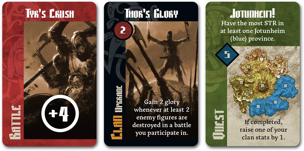 Blood Rage cards: Battle, Upgrade, and Quest cards.