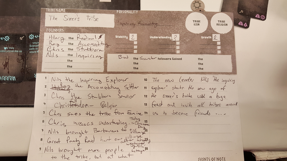 A sample record sheet for recording part of our first game. No, we did not agree on our tribe name.