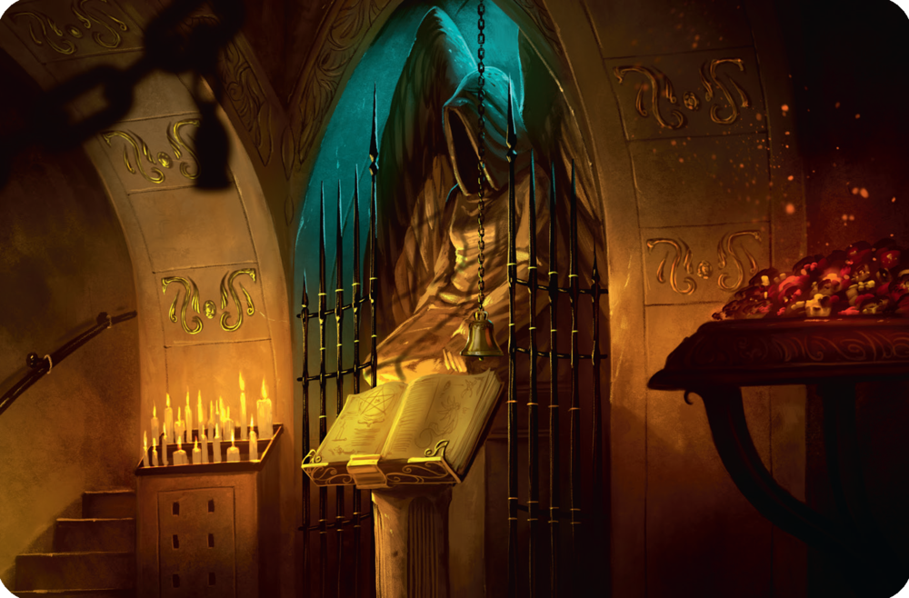 One of the location cards in Mysterium.