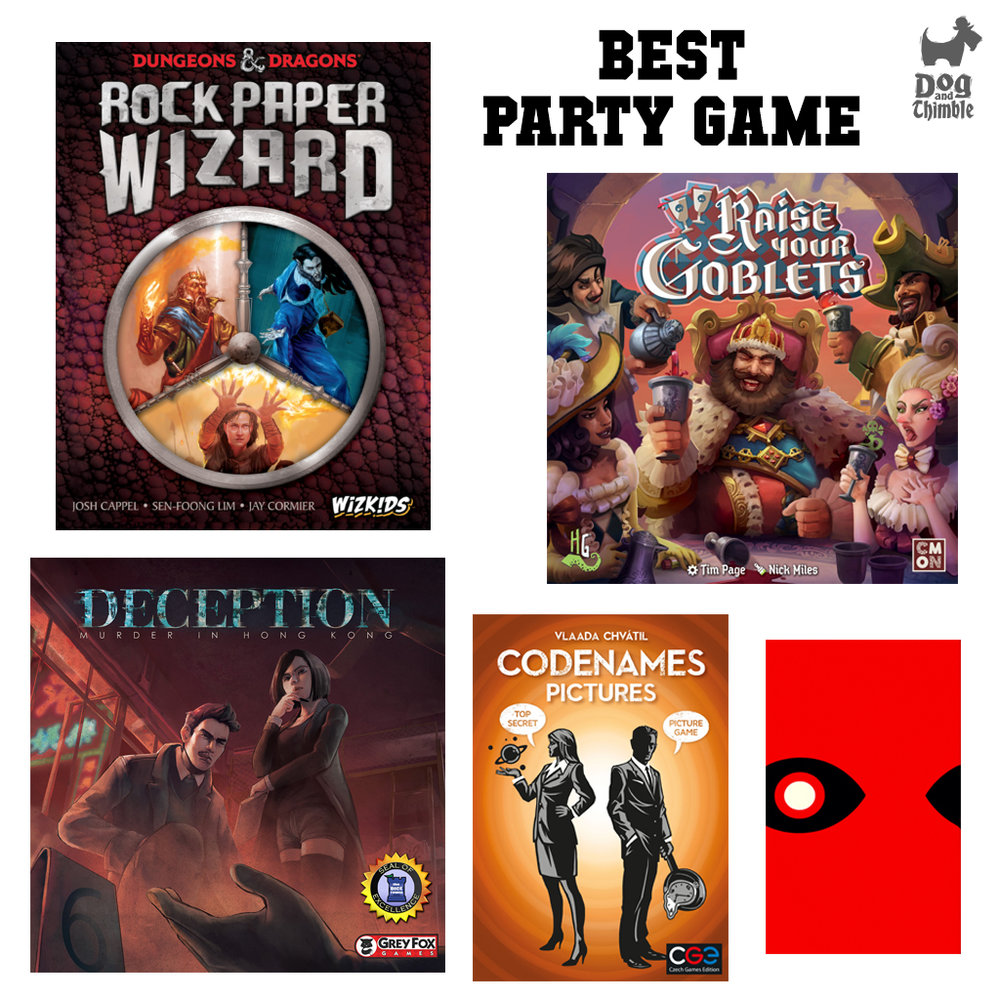 Best Party Game   Codenames Pictures Deception: Murder in Hong Kong Insider Raise Your Goblets Rock Paper Wizard