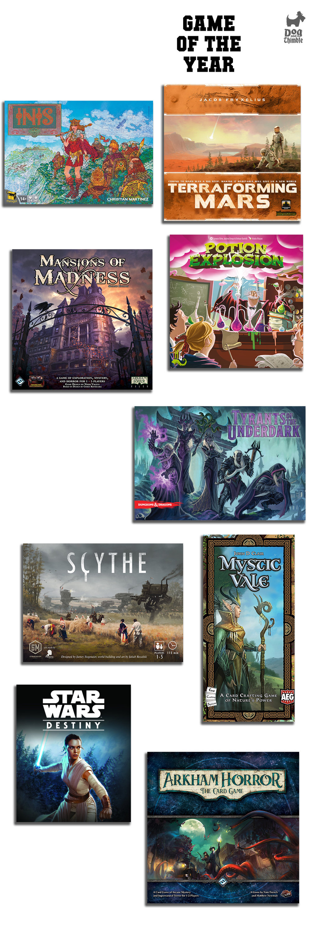 Best Board Game of 2016 Arkham Horror: The Card Game Grifters Inis Mansions of Madness Second Edition Mystic Vale Potion Explosion Scythe Star Wars: Destiny Terraforming Mars Tyrants of the Underdark