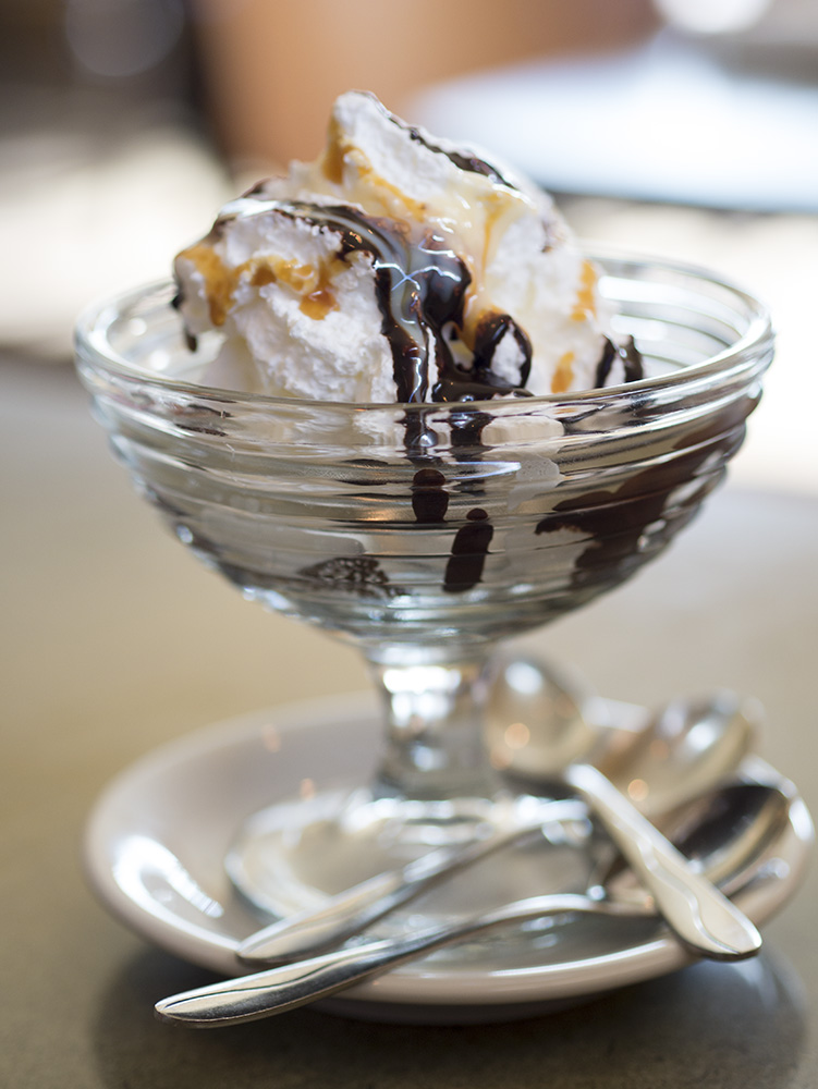 We enjoyed this brownie sundae with homemade chocolate chip gelato.  Delicious.