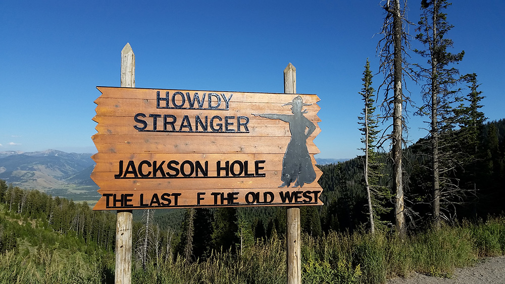 A sign at the top of the Teton Pass Highway