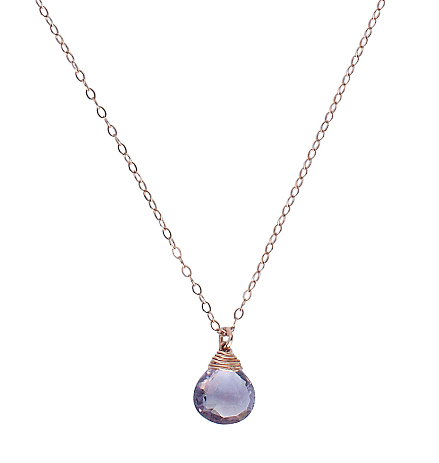 Amethyst necklace rose gold