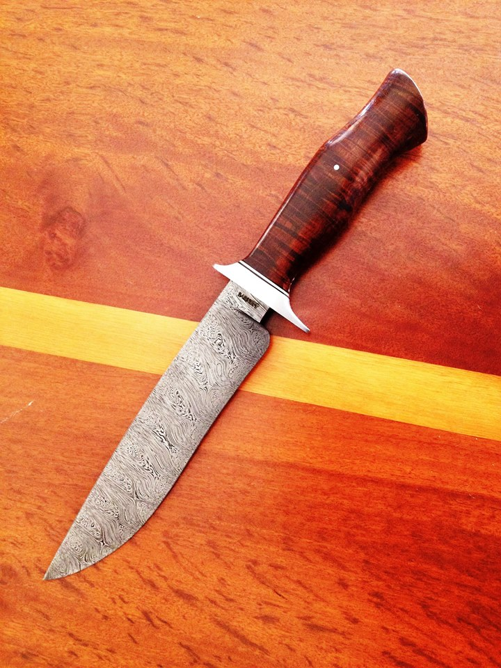 Bruce Barnett AUS Twist Damascus Ringed Gidgee Handle
