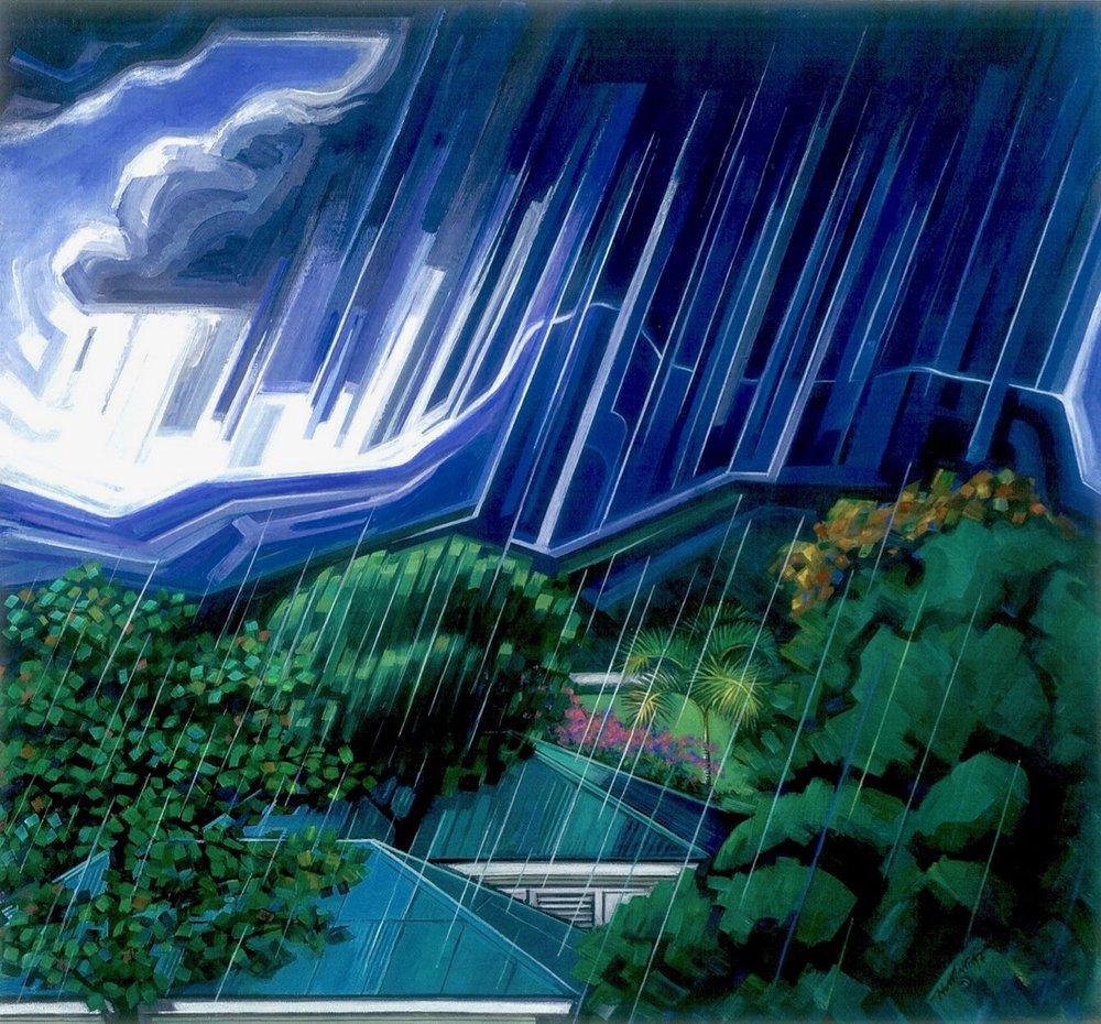 """Homar, Lorenzo. Aguacero sobre El Yunque, llovizna en Miramar. Acrílico sobre Lino, 24"""" x 26"""", 1997, Colección Reyes Veray."""