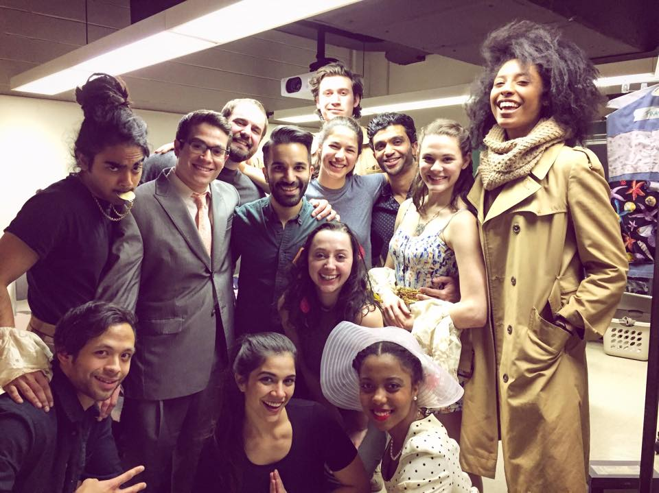 Zi backstage with the company of 'Five Times in One Night' at Rutgers.