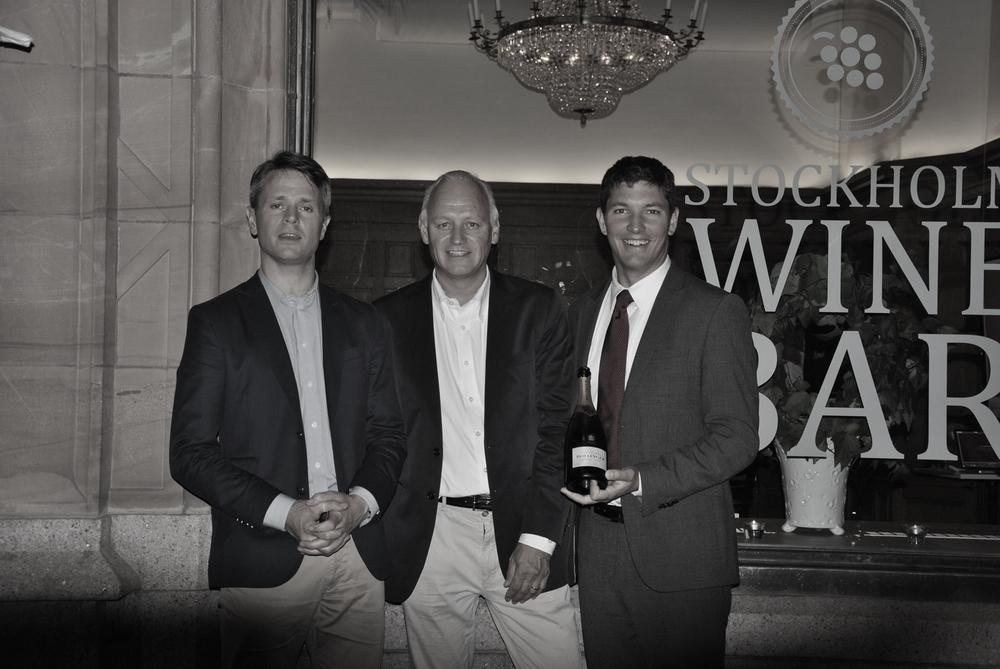 Carl-Johan Svaton, VD Arvid Nordquist Wine Malcolm Rangnitt, VD Stockholm Wine Bar Carl-Fredric Reuter, Exportchef Bollinger