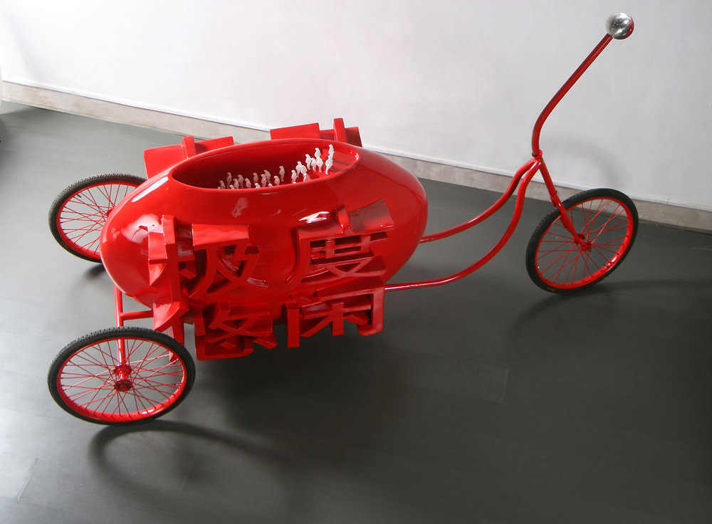 Dan Sheng (Birth) 2007-2011 (Babalogic in the Desert).  Fiberglass, Steel, SanLunChe Parts, Baked Enamel, 295 x 108 x 120 cm