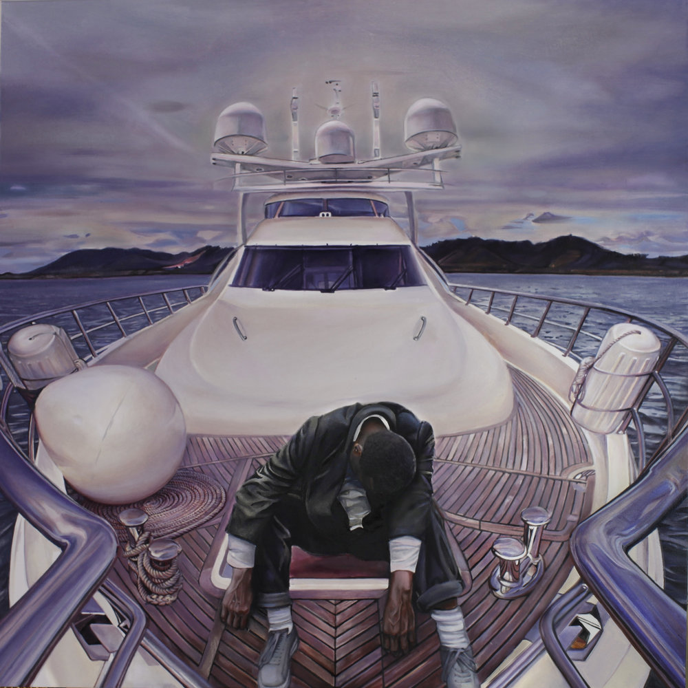 "Yachting, 36x36"", Oil on Canvas"