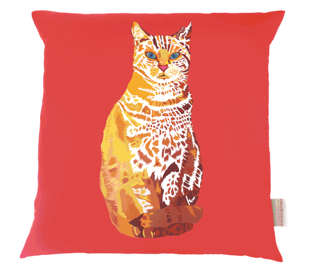 chloe croft illustrated cat cushion luxury cat products