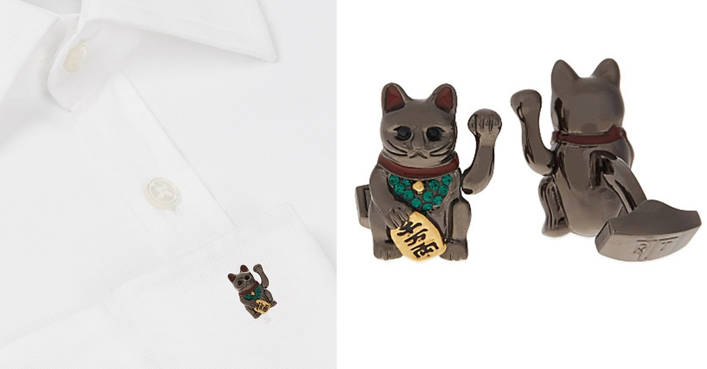 Tateosian Cat Cufflinks Fortune Cat