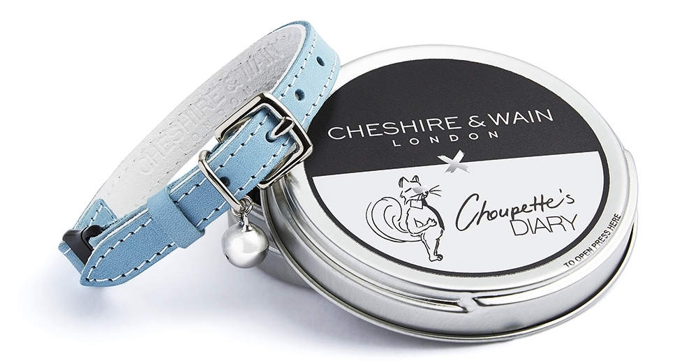 cheshire and wain x choupettes diary cat collar with tin.jpg