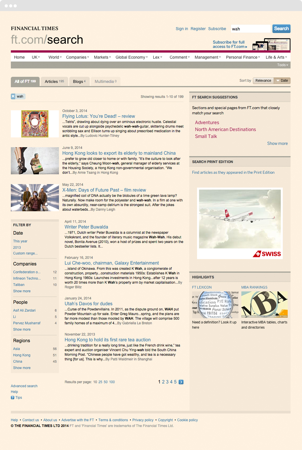 The search results page of The Financial Times  presents results in a curated, editorial manner befitting the paper.