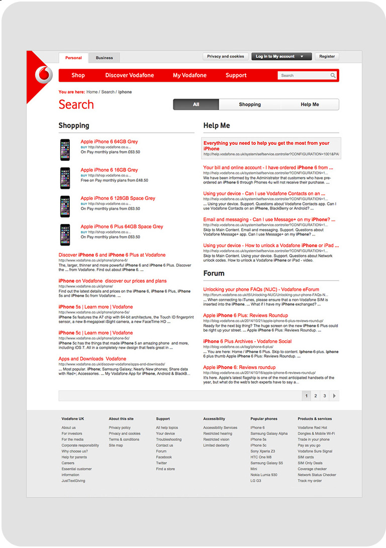 Our search solution for Vodafone clearly delineates between those looking to shopand those in need of customer support.