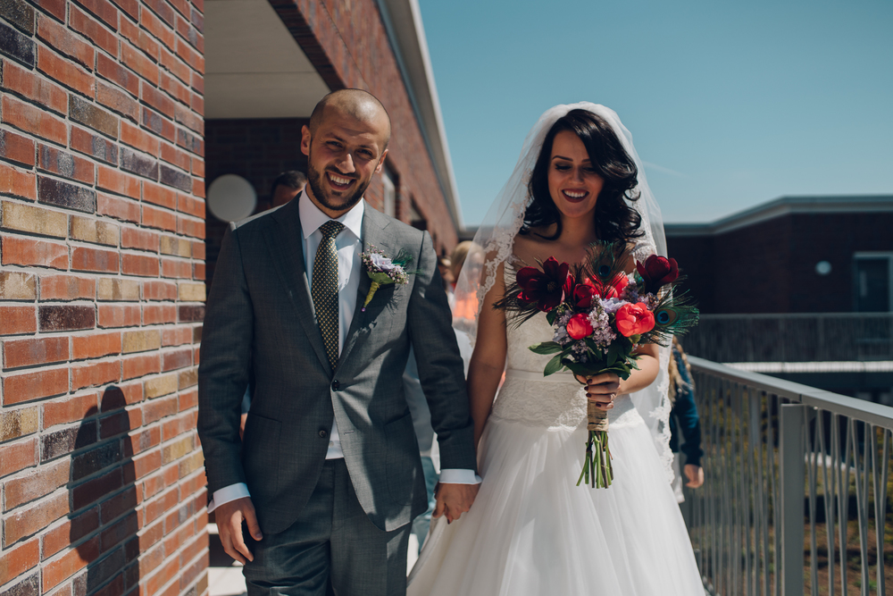 bridal couple on way to ceremony