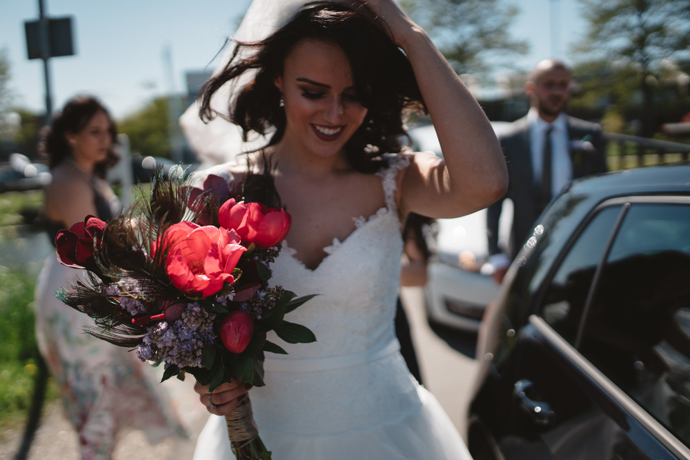 amsterdam wedding photography bride from car