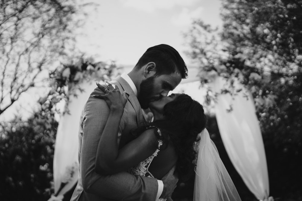 beautiful romantic wedding photography amsterdam couple just married first kiss