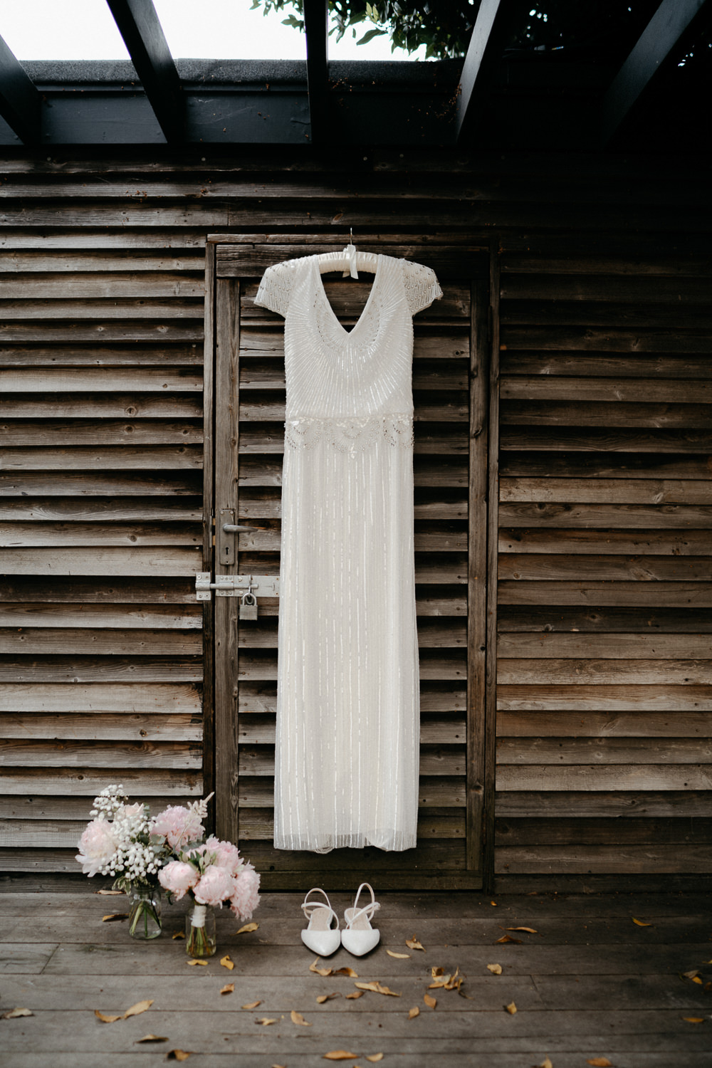 destination wedding photography london dress hanging