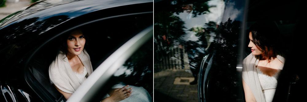 bruidsfotografie bruid in de auto hortus amsterdam