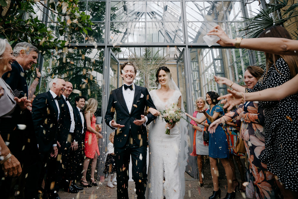 just married in the hortus amsterdam by mark hadden wedding photographer