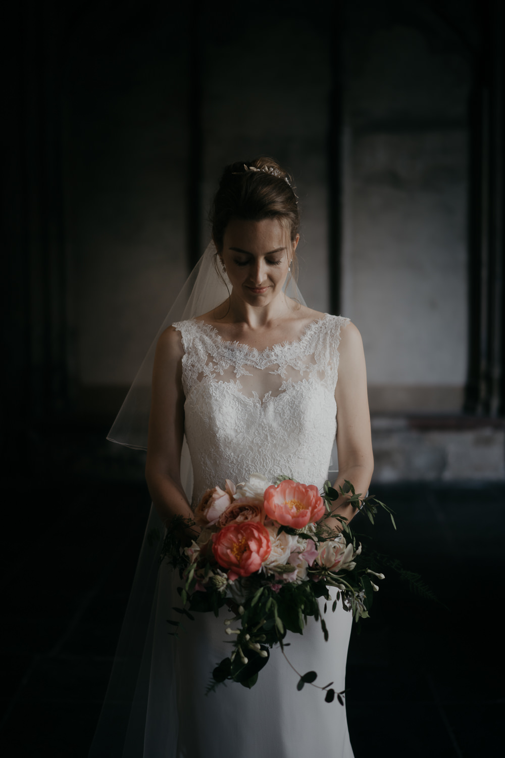 bridal portrait in the dom tower utrecht by mark hadden amsterdam wedding photographer