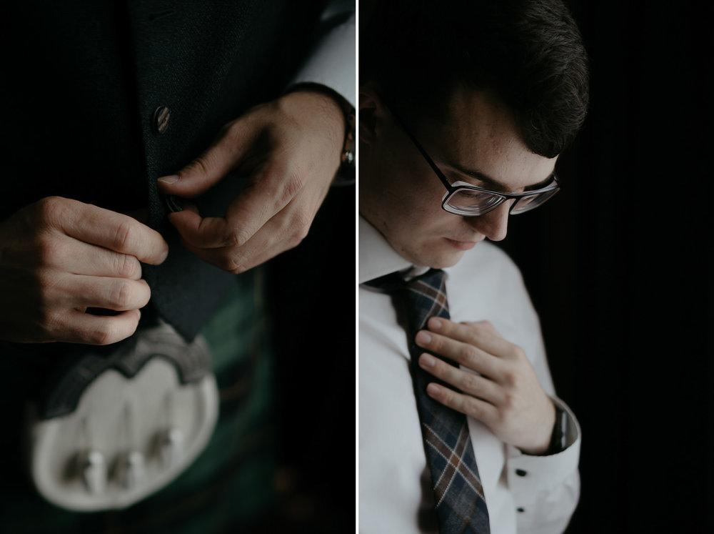Best man preparing for wedding by photographer mark hadden