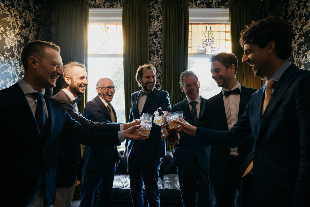The Groom and his best men photographed by mark hadden Amsterdam wedding photographer